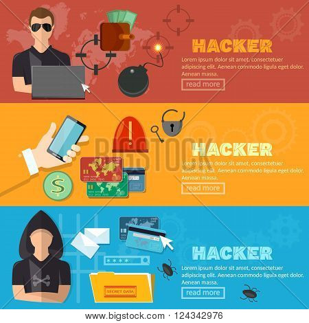 Hacker horizontal banner virus attack e-mail spam viruses bank account hacking