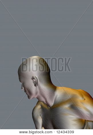 Silver Man Looking Over Shoulder