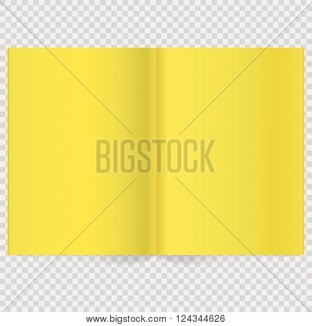 Book Spread With Blank Yellow Pages. Vector Blank Magazine Spread. Isolated Yellow Paper