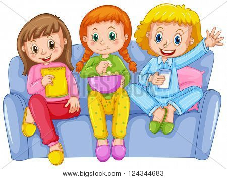 Three girls at slumber party illustration