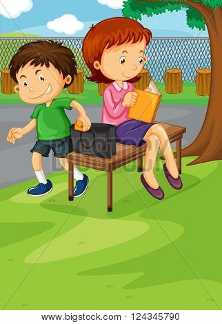 Boy stealing from woman's purse illustration