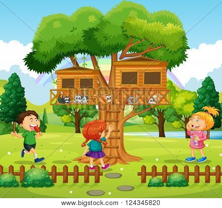 Three kids playing at the treehouse illustration
