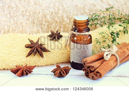 Cinnamon essential oil. Warming fragrant skincare. Anise, cinnamon, thyme aromatherapy.