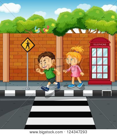 Boy and girl on the pavement illustration