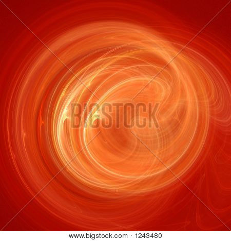 poster of chaos fire flame rays ring on red background
