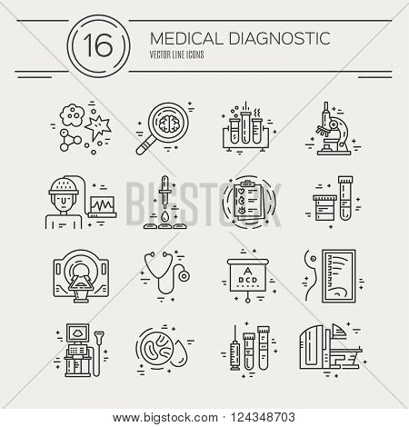 Vector line icons with medical symbols. Medical check-up and research. Line icons of MRI scan xray blood testing and other medical diagnostic process.