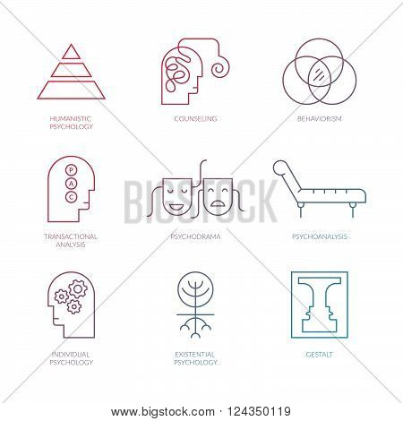 Perfect clean vector pictogramms of different psychology theories including psychodrama transactional analysis behaviorism gestalt.Mental health autism mental problems symbols..