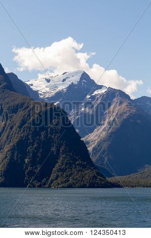 Snow covered mountain in Fjordland New Zealand