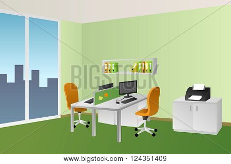 Office room green interior white table orange chair window illustration vector