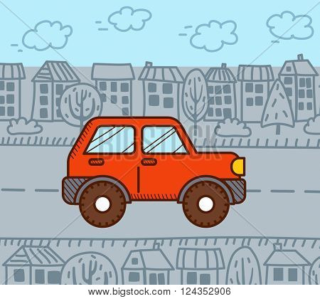 4WD car in the city. Vector illustration