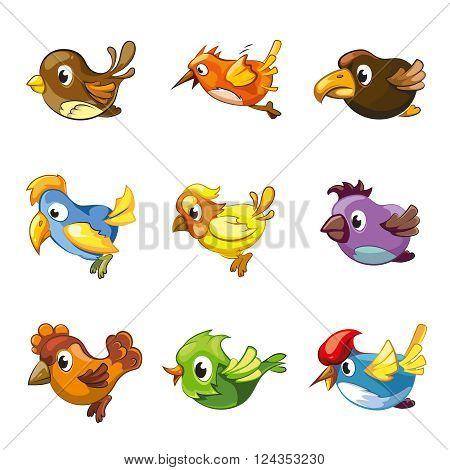 Funny birds icons. Cartoon birds vector set for game ui with birds