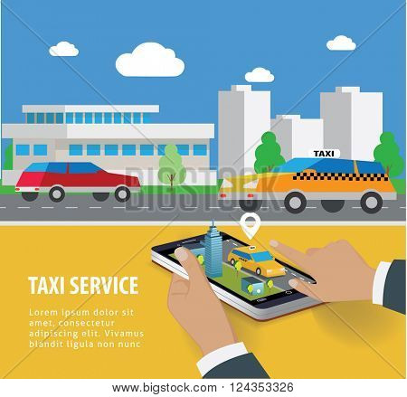Taxi service. Taxi mobile app template set. Smartphone and touchscreen, map and pointer. Vector illustration.