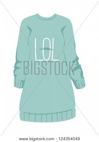 Female sweatshirt blue style hoodie and warm cotton jumper clothing design flat vector illustration.