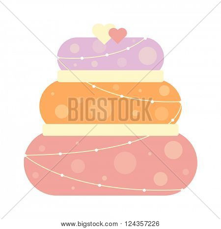 Chocolate cream brownie cake topped pie isolated with white slice and cream flowers decorated vector.
