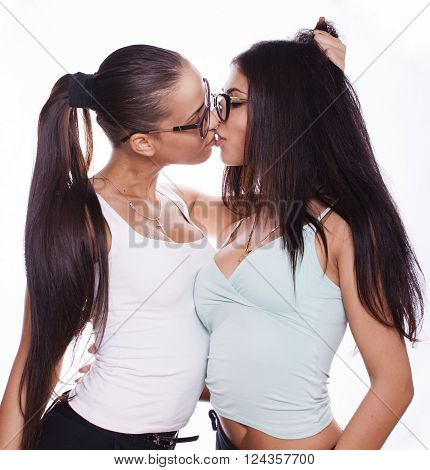 two young  sexy brunette women on white