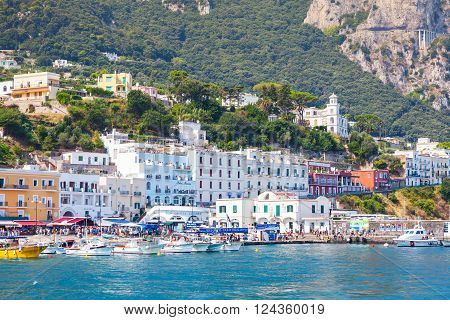 Main Port Of Capri Island In A Summer Day