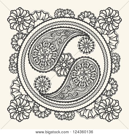 Hand drawn yin-yang sign. Stylish Tao sign in paisley ornament style