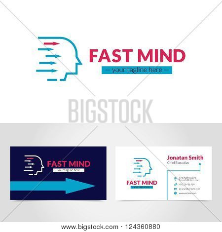 Easy to create online and personalize business card logo design printable with your own tagline vector illustration