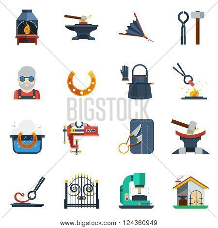 Blacksmith flat color icons set with hammer  anvil tongs clamp horseshoe isolated vector illustration