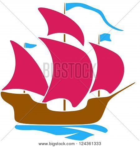 Sailboat scarlet sail childlike drawing EPS8 - vector graphics.