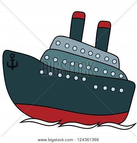 Passenger steamship childlike drawing EPS8 - vector graphics.