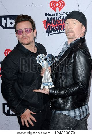 Bono and The Edge of U2 at the 2016 iHeartRadio Music Awards - Press Room held at the Forum in Inglewood, USA on April 3, 2016.