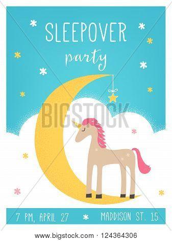 Moon and Unicorn Pajama Sleepover Kids Party Invitation Card Vector