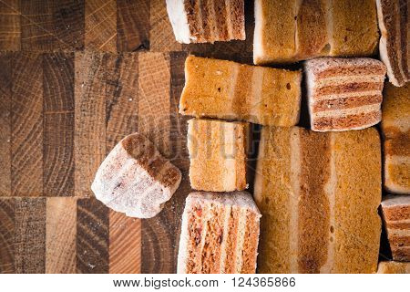 Different pieces of pastila on the wooden board