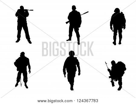 Vector illustration of a six soldiers silhouettes