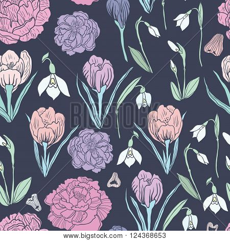 Spring Rampage seamless vector pattern. Romantic blooming peony for textile, stationary, scrapbook paper and web.