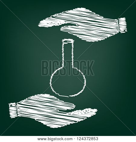 Tube. Laboratory glass sign. Flat style icon with scribble effect