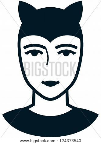 Cat woman costume vector illustration face tattoo