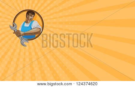 Business card showing WPA style illustration of a mechanic worker looking to the side holding spanner wrench set inside circle on isolated background. poster