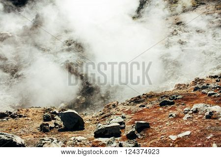 Icelandic mountain landscape, powerful hotspring in Landmannalaugar