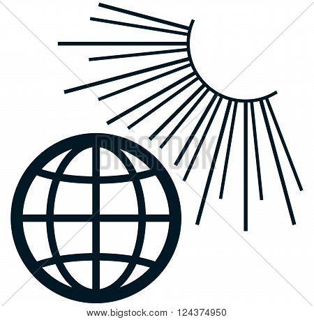 Earth in the Sun light rays summer vector illustration