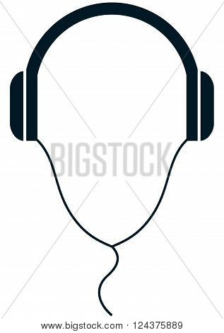 Headphones wire simple vector illustration isolated on white