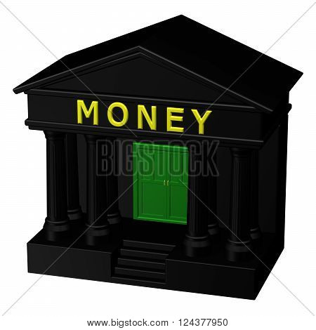 Concept : Money isolated on white background. 3D render.