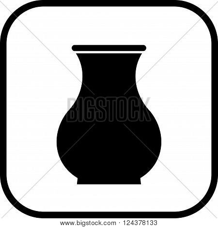 Ceramic pot crock vase vector simple icon isolated
