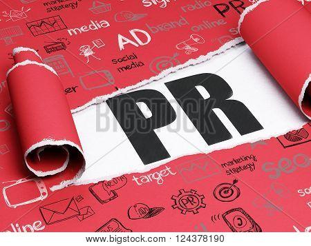 Marketing concept: black text PR under the piece of  torn paper