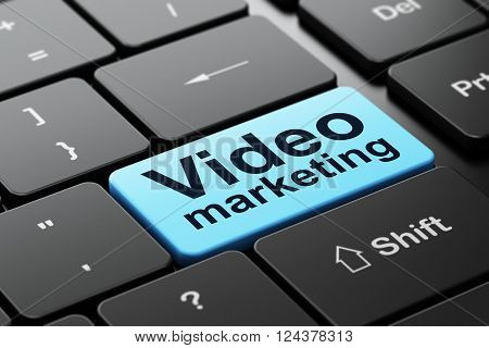 Marketing concept: Video Marketing on computer keyboard background