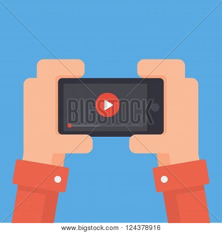 Watch videos on your phone. Mobile phone with video player on the screen. Play online video on your phone. Video streaming on phone. Video app in your phone. Mobile video streaming technologies.