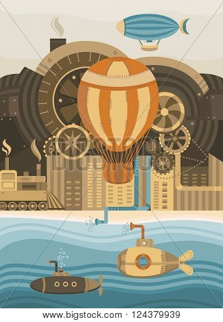 Steampunk vector background. Vintage template design for banners cards invitations covers web pages. The city in the steampunk style. Illustration of the balloon gears retro train. Retro style.