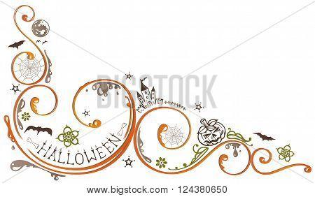 Decorative halloween tendril, with pumpkin, bats, flowers and bones.