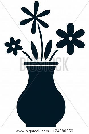 Flowers bunch in vase vector illustration isolated