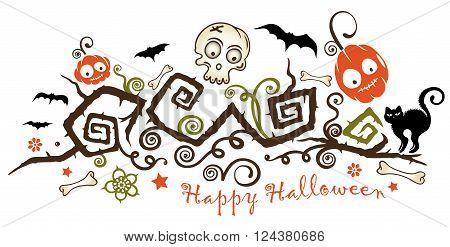 Decorative halloween tendril, with monster pumpkins, bats, skull and black cat.