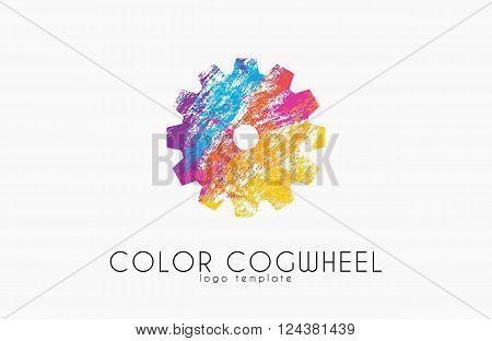Cogwheel logo. Color cogwheel. Creative logo design