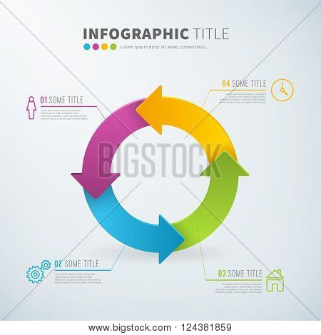 Business infographic circle arrow chart statistics with icons for reports and presentations. Vector illustration.