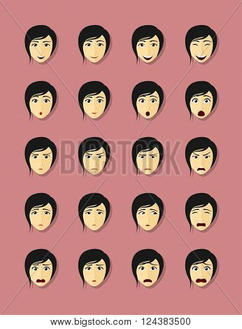 set of woman's faces with different emotions flat style illustration