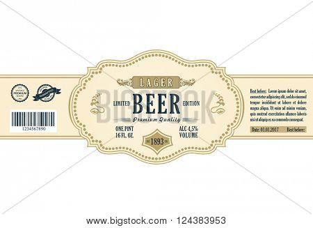 Vintage frame label. Gold sticker bottle beer. Design for label, banner, sticker premium quality. Vector frame sticker for bottle and can