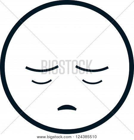 Sad funny face head vector cartoon illustration
